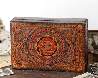 Hand Painted Box - Wooden Box - Vintage Keepsake Box - Wooden Jewelry Box - Wooden Box with Lid - Large Wooden Box - Shaving Box - Mens Gift