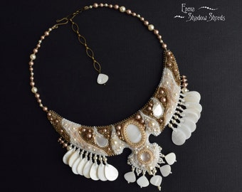 """Bead embroidered necklace """"Aphrodite"""" Beadwork Necklace Beaded Necklace White Bronze Necklace with mother of pearl Beaded Jewelry Collier"""