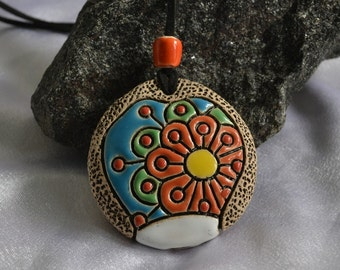 Musical Jewelry Ocarina Pendant orange flower fantastic blue sky suspension funny musical gift Ocarina instrument clay Whistle pendant