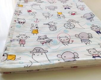 Pirate minky blanket, Nautical baby blanket, Organic receiving blanket, Modern baby blanket, Super soft baby blanket, Baby shower gift idea