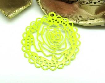 1 pendant print rose flower filigree stylized neon lime green - 43 mm
