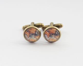 Vintage Map Cufflinks, Earth Cufflinks, Map Cuff Links, World Cufflinks, Travel Cufflinks, Planet Cufflinks, Graduation Gift, Grad gift
