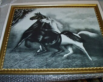 Spirited Horses No. 2 Original 1908 Black and White Horses Running From Storm Large Antique Print Gold Gesso Frame Artist LeRoy