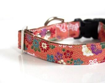 Chiyogami kimono design Dog Collar - Pink