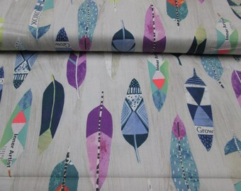 Cotton fabric, feathers, fabric cotton 100% light grey feathers