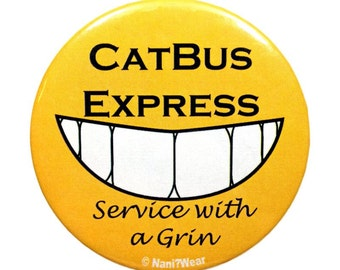 Totoro 2-Inch Button (Catbus Express-Service with a Grin)