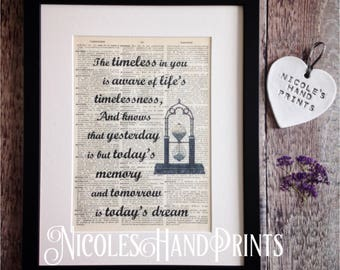 Kahlil Gibran Quote, Inspirational Wall Art, Poetry Lover Gift, Vintage Art Print, Poetry Art, Philosophy Print, Time Quote, Poetry Print,