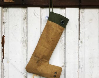 GROMMET - reconstructed vintage army duffle bag christmas stocking