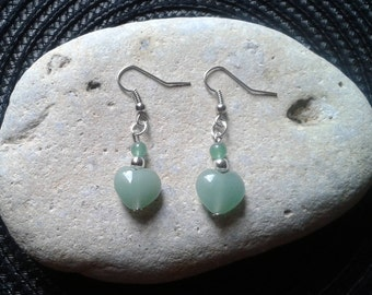 Jade heart and Aventurine bead earrings