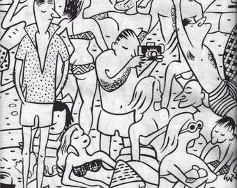 On The Beach I Spy Black White Vacation Party Fabric Alexander Henry Rare 2007