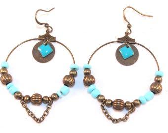 Boucles d'oreilles créoles bleu ciel