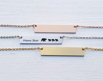 Custom Name Gift for Mom Personalized Bar Necklace Mama Bear Necklace Custom Jewelry Gold Silver Cub Mother Gift for Her Gift for Friend