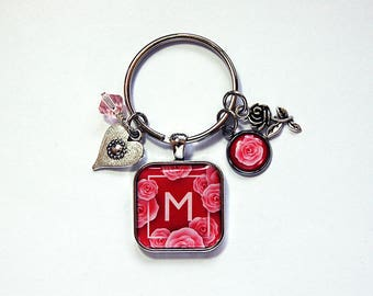 Rose keychain, Keychain for women, Monogram keyring, Cute Keychain, stocking stuffer, Roses, pink, red, Monogram keychain, heart (7982)