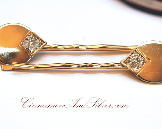 Vintage Wedding or Special Occassion Rhinestone Teardrop Gold Bobby Pin Set, Vintage Hair Accessories, Upcycled Vintage Jewelry Hair Pins