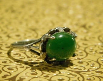 Jade ring in silver setting
