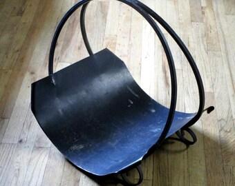 Vintage Industrial Black Iron Log Holder