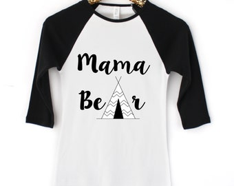 Mama Bear Three Quarter Sleeve Tee