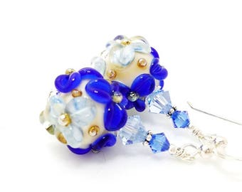 Blue Floral Earrings, Lampwork Earrings, Glass Bead Earrings, Glass Earrings, Dangle Earrings, Flower Earring, Blue Earrings, Cute Earrings
