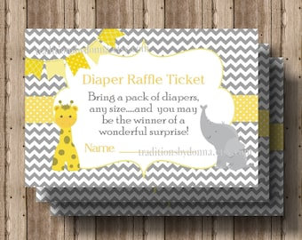 DIAPER RAFFLE TICKET Baby Shower Yellow and Gray Chevron Instant Download / Boy or Girl Baby Shower/ Elephant Giraffe/ Invitation Available