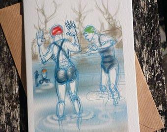 greetings card: 'Getting In' - art card, open water swimming, wild swimming, ice swimming