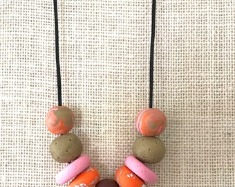Brown and orange handmade polymer clay chunky necklace, 70cm polyester cord with breakaway clasp