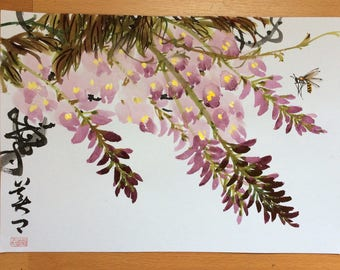 Original Chinese Painting-Flower and Insect(Wisteria and Bee)