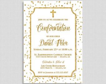 blue baptism invitation blue gold glitter confetti baptism