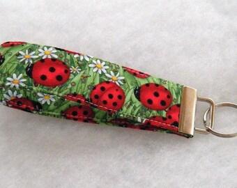 Key Fob wristlet - Ladybugs large