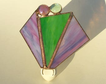 Lavender-Purple and Green, Stained Glass Night Light, NIght Lights