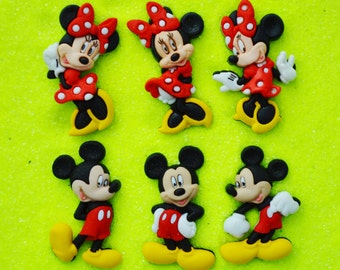 Mickey Mouse or  Minnie Mouse Buttons  ~Terrarium Accessory ~ ~ Button ~ Craft Supply