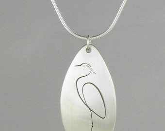 """Calligraphic Great Blue Heron Pendant, Sterling Silver Tear-drop Disc, 1 1/4"""" high"""