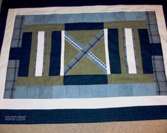 Denim Geometric Lap Blanket