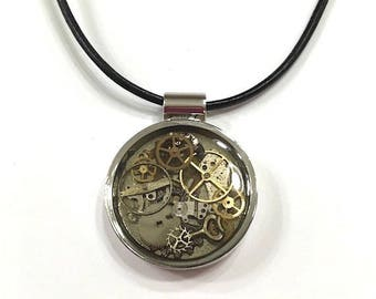 Steampunk Watch Parts and Resin Pendant Necklace, Unisex Necklace, Watch Gears