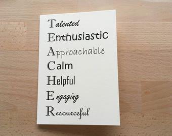 Teacher Card, Teacher Thank You, Illustrated Card, Teacher Birthday, Blank Card, Happy Birthday, All Occasions Card, Teacher, Thank You Card