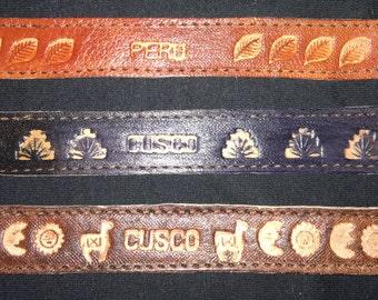 Peruvian burned design leather bracelets