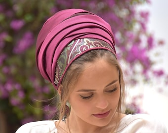 Avia Magenta Gorgeous Headscarf TICHEL, Hair Snood, Head Scarf, Head Covering, Jewish Headcovering, Scarf, Bandana, Pashmina