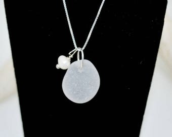 White Sea Glass Pendant, Sea Glass Necklace, Beach Wedding Jewelry, Sterling Sea Glass Jewelry, Lake Erie Beach Earrings, Seaglass Etsy