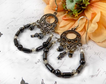 vintage hoop earrings  , Filigree earrings ,Art deco earrings vintage -Dangle earring -mid-century - Vintage drop earrings - # J 14