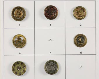 "Antique Metal Buttons - 5/8"" to 9/16"" in size - Board 1M"