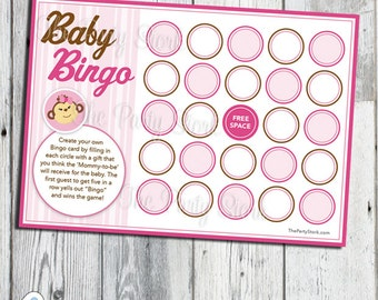 Pink Monkey Baby Shower Bingo Game, For Girl, PRINTABLE, More Fun Games to Choose From YOU PRINT