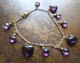 Purple Heart Vintage Acrylic Gold Plated Charm bracelet