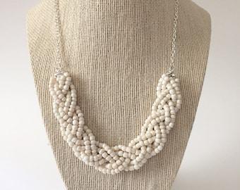Ivory Beaded Braid Necklace