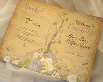 Vintage Woodland Garden Wedding Order Service Ceremony Program Branch Tree Flower Floral Gray Lavendar Purple Green Summer Spring - Sample
