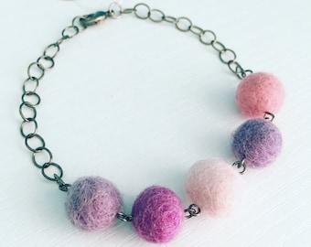 Paulina Felt Bracelet in Sugar Plum