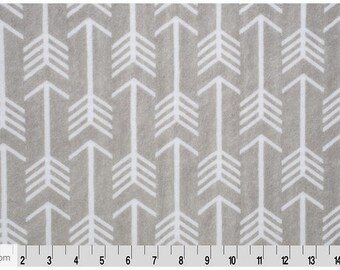 Arrows Minky Fabric, Arrows, Archer, Gray and white cuddle, Shannon Fabrics