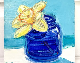Blue Bottle Daffodil original mixed media acrylic still life painting by Polly Jones