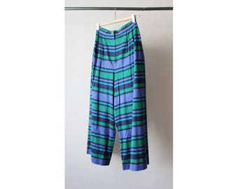 1970s Cacharel Green Striped High Waist Cropped Pants