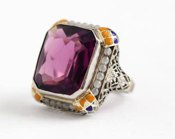 Vintage Enamel Ring - Antique Art Deco 10k White Gold Simulated Amethyst & Seed Pearl Halo - 1920s Size 3 Filigree Glass Stone Fine Jewelry