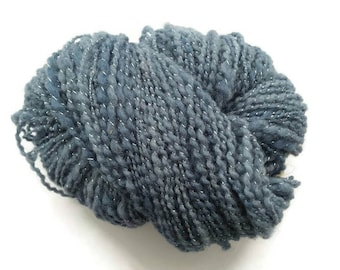 Blue wool yarn, bulky yarn, handspun yarn, art yarn, knitting yarn, weaving, crochet, hand-dyed yarn, handspun yarn