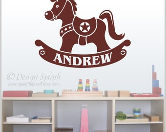 ROCKING HORSE Vinyl Wall Decal Personalized Baby Nursery Art NK-107